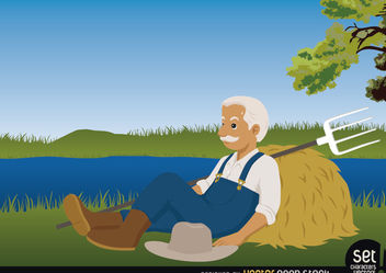 Farmer resting by a lake - Free vector #167539
