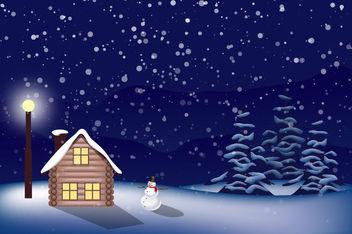 Snowy Christmas Landscape - бесплатный vector #167589