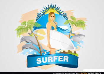 Surfer Girl Wallpaper - vector gratuit #167679