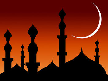 Mosque over Bright Reddish Sky - vector gratuit #167809