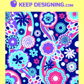 Funky Floral & Swirly Pattern Background - Free vector #167969