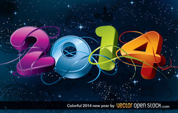 Colorful 2014 new year - vector gratuit #168009