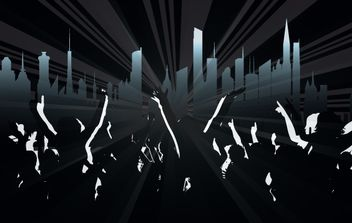 Crowds with City & Ray Background - vector gratuit #168079