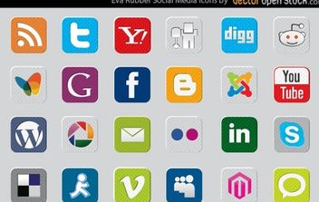 EVA rubber social media icons - vector gratuit #168359