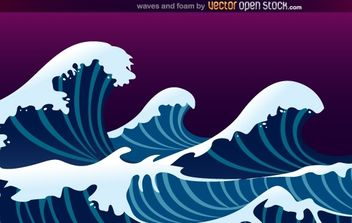 Waves and Foam - vector gratuit #168479