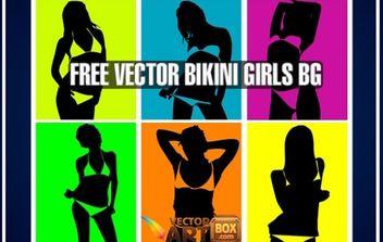 Vector Bikini Girls Pop Art Style Background - vector #168509 gratis