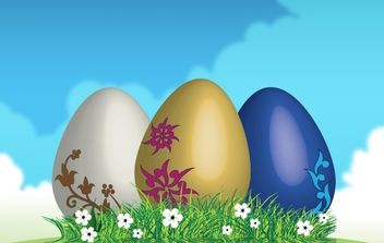 Easter eggs on green grass - Free vector #169049