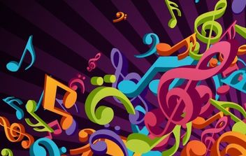 3D Colorful Music Vector Background - Free vector #169119