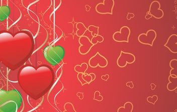 green and red valentines hearts - vector gratuit #169299