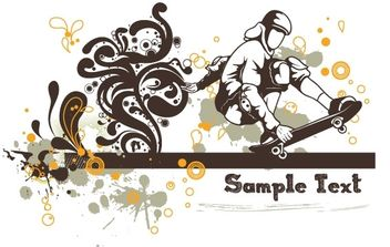 Floral vector background - skater - Free vector #170009