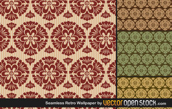 Seamless Retro Wallpaper - Free vector #170169
