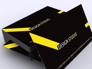 Yellow Black Stylish Business Card - vector gratuit #170489