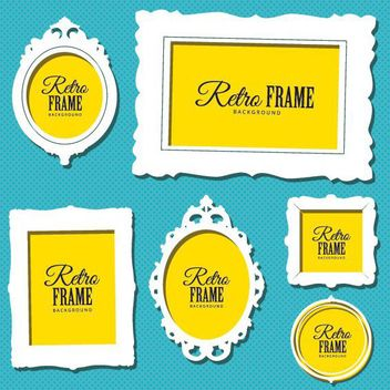 White Abstract Retro Frame Set - vector gratuit #170509