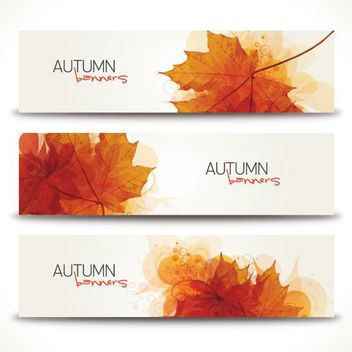 Fallen Autumn Leaves 3 Banners - Free vector #170559