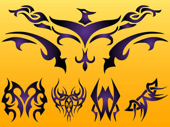 Creative Tribal Phoenix & Tattoos - Free vector #170569