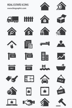 Real Estate Icon Pack Silhouette - vector #170599 gratis