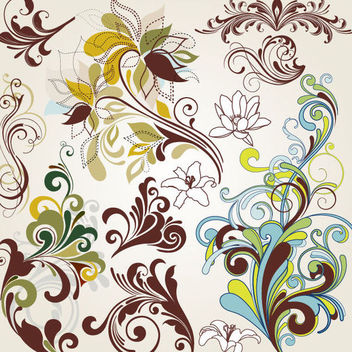 Vintage Swirling Colorful Floral Elements - Free vector #170699