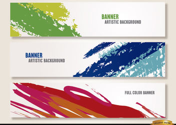 Artistic paint brushstrokes headers - Free vector #170799