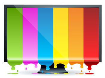Monitor with Multicolor Splashed Display - vector gratuit #170809