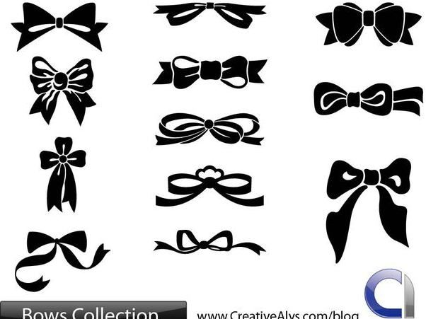 Flat Bows and Ribbon Pack - бесплатный vector #170869