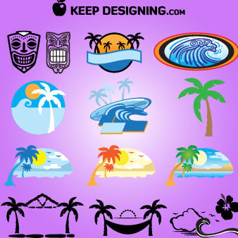 Summer Island, Tiki Hut, Mask Set - Free vector #170929