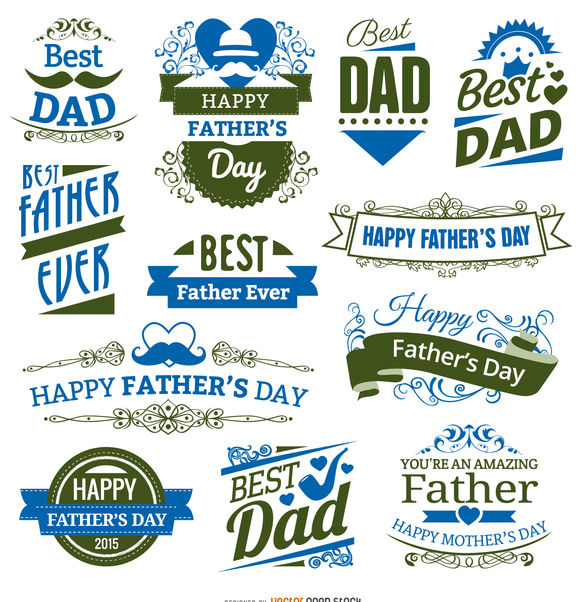 12 Father's day badges - vector #171429 gratis