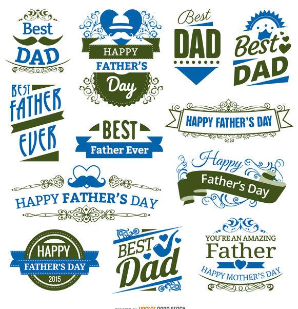 12 Father's day badges - бесплатный vector #171429