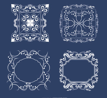 4 Floral ornaments frames - vector #171449 gratis