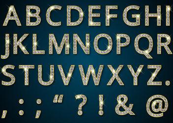 Diamond Texture Golden Alphabetic Typeface - Free vector #171469