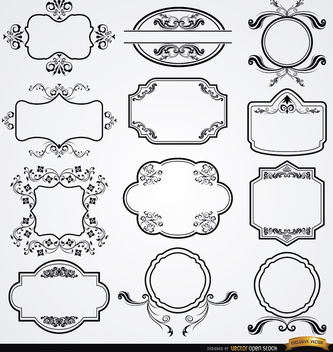 12 elegant floral labels set - Free vector #171519