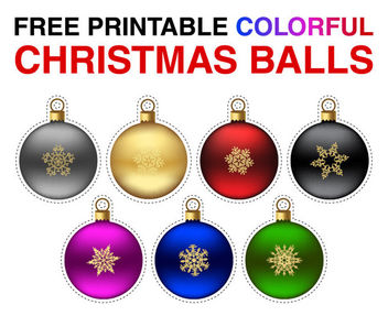 Glossy Multicolor Christmas Balls with Snowflakes - vector gratuit #171549