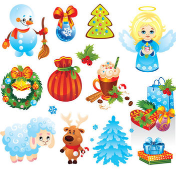 Funky Christmas Stuff & Ornament Pack - Free vector #171569