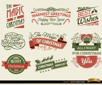 8 Christmas Ribbons and labels - Free vector #171609