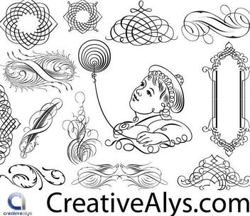 Creative Calligraphic Frame & Ornaments - Free vector #171629