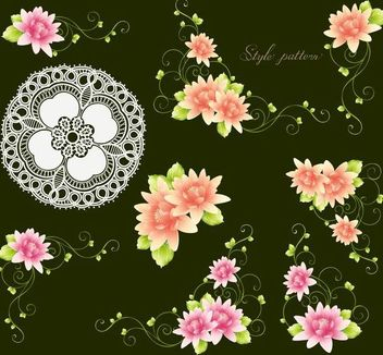 Flowers with Buds and Ornament - vector gratuit #171699