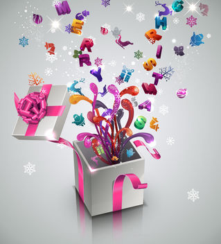 3D New Year & Celebration Gift Box - vector gratuit #171769
