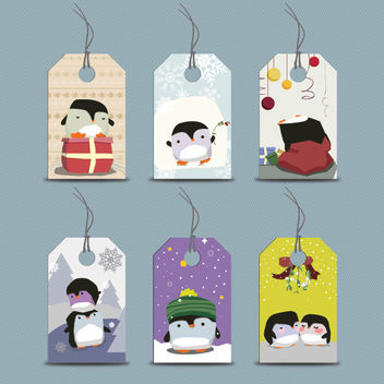 Funky Seasonal Penguin Price Tag Set - Free vector #171779