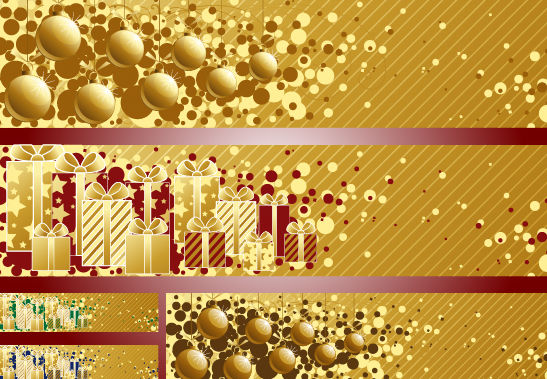 3 Golden Striped Christmas Banners - бесплатный vector #171819