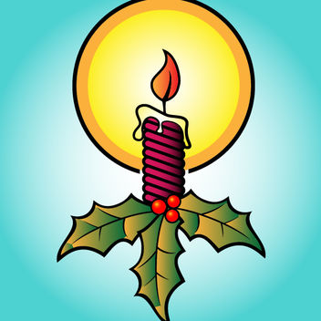 Christmas Decorative Burning Candle - Free vector #171849