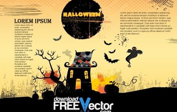 Grungy Vintage Halloween Poster - Free vector #171939