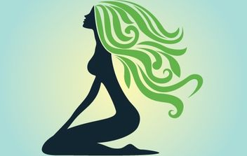 Silhouette Curly Green Hair Lady - Free vector #172149