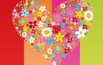 Vector HEART Flowers - Free vector #172769