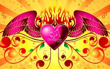 Winged Heart - vector gratuit #172829