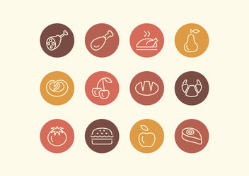Outlined Food Icon Set Circles - Kostenloses vector #172949