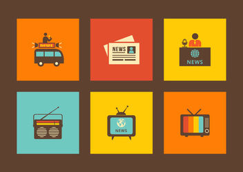 Media & Publishing Retro Icon Set - Free vector #172959