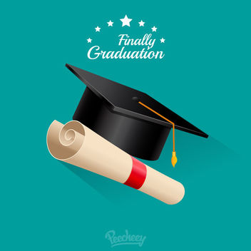 Graduation Cap with Scrolled Diploma - Free vector #172999