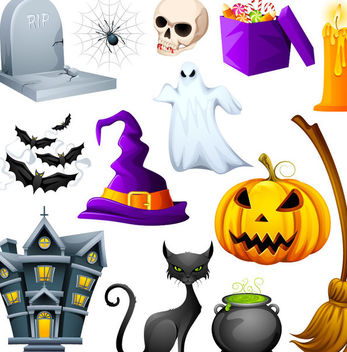 Hunted Cute Halloween Object Pack - Free vector #173069