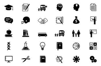 Black & White Educational Flat Icon Set - Free vector #173119