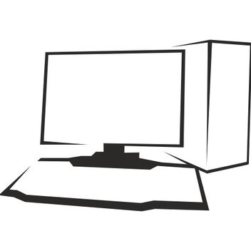 Outlined Black & White Desktop PC - vector gratuit #173239