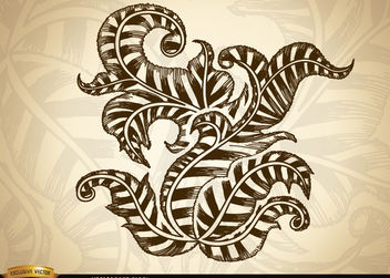 Ornamental swirls and leaves drawing - Free vector #173379